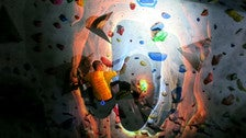 Headlamp climbing at Stronghold Climbing Gym